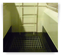 Built in wash–down sump and ships ladder.
